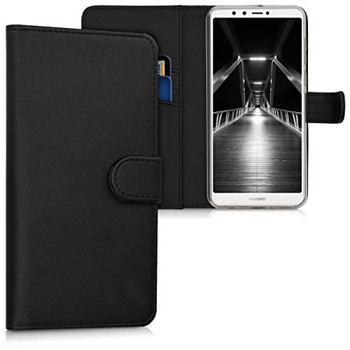 kwmobile Hülle kompatibel mit Huawei Y9 (2018) / Enjoy 8 Plus - Kunstleder Wallet Hülle mit Kartenfächern Stand in Schwarz