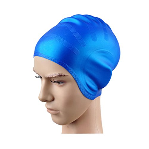BigForest Badekappe Silikon Badem¨¹TZE Badehaube f¨¹r Lange Haare mit GEH?rschutz Ohrenschutz Erwachsene Damen/Herren Elastische Swim Cap Blue