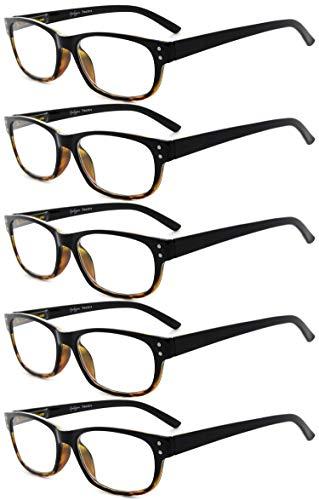 Eyekepper Design Reading Glasses-5 Pack Black-Tortoise Frame Glasses for Women Men Reading,Reader Eyeglasses
