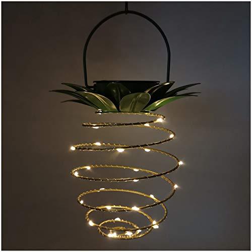 SJHP Luces Solares de Jardín Aire Libre de Metal Piña Diseño LED Linterna Colgante Impermeable con asa Automática ON/Off Decorativa para Exterior árbol de Pata Balcón Césped Patio Yard