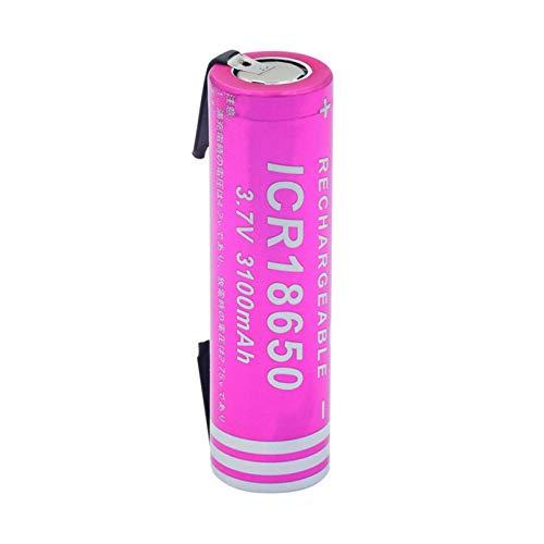 RitzyRose Batería de iones de litio de 3,7 V, 3100 mAh, 18650, batería recargable para radio portátil con linterna de control remoto 1 unidad