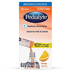 Pedialyte Electrolyte Powder, Electrolyte Drink, Orange, Powder Sticks, .6 Ounce, 3.6 Ounce (Pack of