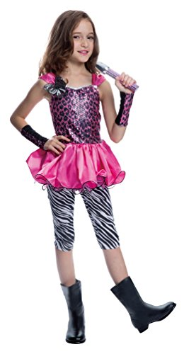 Karneval-Klamotten Rockstar Mädchen-Kostüm Popstar Mädchen Kinder-Kostüm Sängerin Musikerin 80er Jahre Komplett-Kostüm inkl. Mikrofon