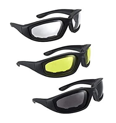 3 Pair Motorcycle Riding Glasses Smoke Clear Yellow from HiSurprise