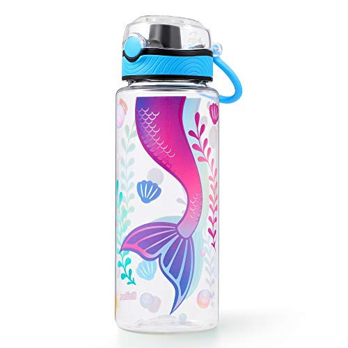 Cute Water Bottle for School Kids Girls, BPA FREE Tritan & Leak Proof Flip Top Lid & Easy Clean & Carry Handle, 23oz/ 680ml (Mermaid, 23oz)