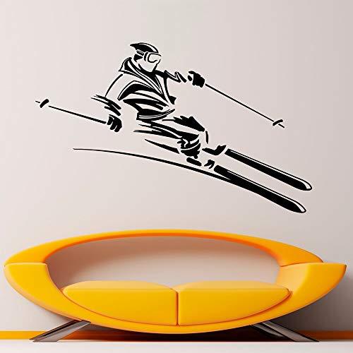wZUN Calcomanías de Pared Deportivas esquí Esquiador Velocidad Vinilo Pegatinas de Pared Deportes decoración de la Pared diseño decoración del hogar Mural 68X42cm