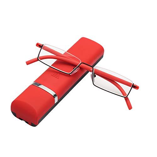LianSan Retro Super leicht Lesebrille Herren Damen Unisex Brillen Metallrahmen Halbrahmen Modell-L3801 CE (rot, 4.0)