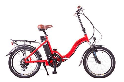 9TRANSPORT E-Bike, Bicicleta Eléctrica Lola Plegable, 250W Motor, 25 km/h Batería 36V 10Ah, Color Rojo