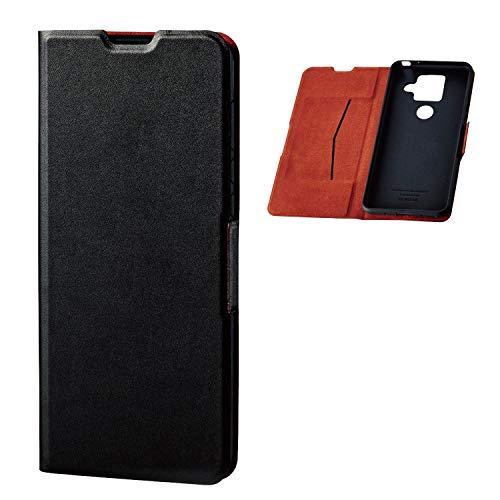 エレコム AQUOS sense4 plus ケース ソフトレザー 薄型 磁石付 ブラック PM-S207PLFUBK
