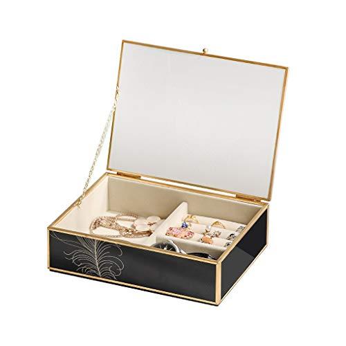 ZRL Joyero organizador de joyas de cristal negro, organizador de relojes, caja de almacenamiento moderna y elegante (color: negro)