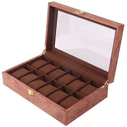 ウォッチボックス収納ボックス木製ジュエリーディスプレイ木製ボックス時計コレクション無垢材赤い花梨無垢材ガラス天窓10テーブル桁