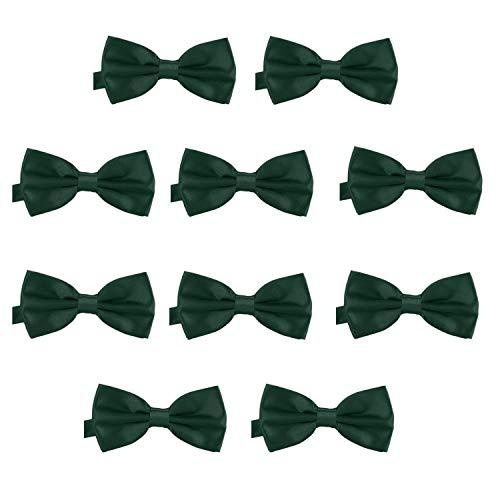 DonDon DonDon 10er Set Herren Fliege 12 x 6 cm gebunden und längenverstellbar dunkelgrün