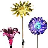 HJBD Luz Solar de jardín, luz de Estatua LED, IP65 Impermeable, Diente de león, Lirio y Color Girasol Cambiar decoración al Aire Libre, Adecuado para césped, Patio, pasaje