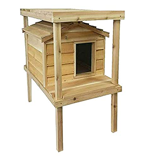 CozyCatFurniture Large Outdoor Cat House with Platform and...