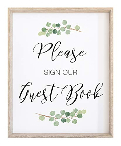 Wedding Please Sign our Guest Book Sign | Watercolor Greenery with Eucalyptus Print on Thick Cardstock Paper | Guestbook Sign Wedding Decoration NOT FRAMED | (1) 8x10 Sign