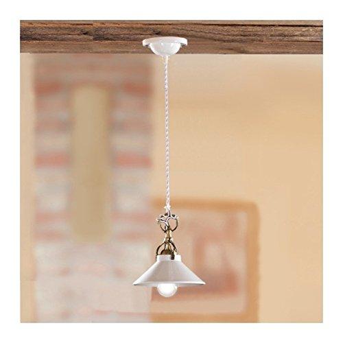 Araña colgante de la lámpara con el blanco de la baldosa cerámica lisa, brillante, de retro-vintage – Ø 18,5 cm