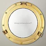 Nagina International Espejo de ojo de buey pulido de latón náutico de lujo de 43 cm | Espejo decorativo de barco de pirata | Capitán Marítimo Playa Decoración y Regalos