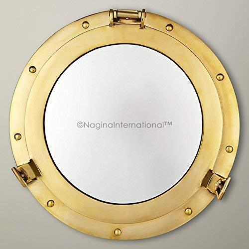 Nagina International Espejo de ojo de buey pulido de latón