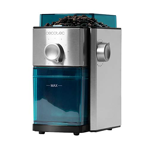 Cecotec Molinillo de Café Eléctrico SteelMill 2000 Adjust, 150 W, Acero Inoxidable, Sistema de muelas Planas, 17 Niveles de molienda, Capacidad 250 gr, Depósito Apto para lavavajillas