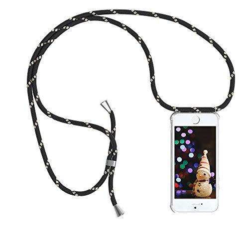 YuhooTech Handykette Kompatibel mit iPhone 5 / 5S / SE, Smartphone Necklace Hülle mit Band - Handyhülle mit Kordel Umhängenband - Schnur mit Case zum umhängen in Schwarz