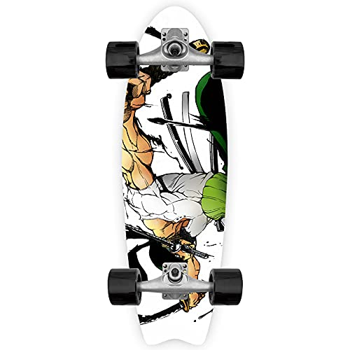 Cnlololog Ingle Tilt Skateboard Three-Sword Flow Roronoa Zoro Tail Fish Skateboard UNA Pieza Anime Fish Board Land Tabla de Surf Brush The Street Monopatín de inclinación única Maple Fish Board