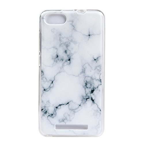 IJIA Coque Wiko Lenny III / 3, Ultra-Mince Motif Marbre Naturel Ivoire Blanc TPU Doux Silicone Bumper Case Cover Shell Housse Etui pour Wiko Lenny III / 3 + 24K Or Autocollant
