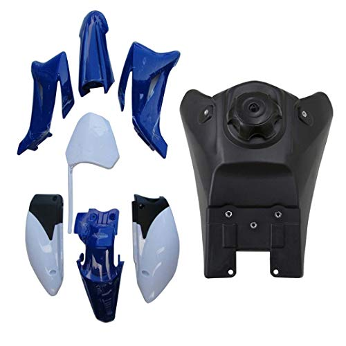 TDPRO Plastic Fender Fairing Kit and Fuel Gas Tank for Yamaha TTR-R110E Pit Dirt Bike (Blue&White)