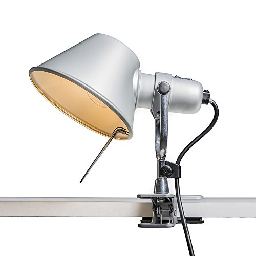 Artemide Design/Modern Artemide Tolomeo Pinza aluminium/Innenbeleuchtung/Wohnzimmerlampe/Schlafzimmer/Nachttischleuchte Rund LED geeignet E27 Max. 1 x 100 Watt