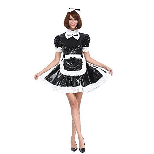 GOceBaby Sissy Mädchen Zofen Süße Schleife Schwarzes Abschließbares PVC Kleid Kreuzkleid (XL)