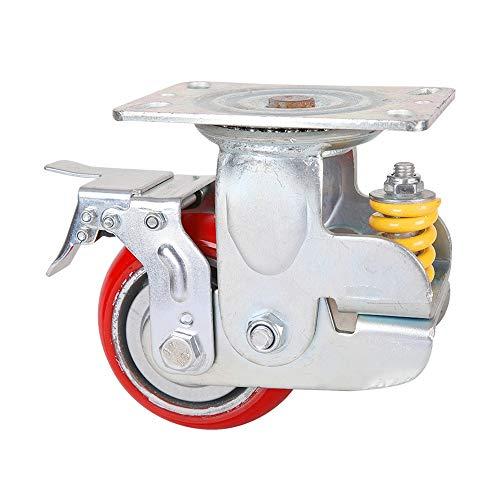 Heavy Duty Gummi Stützrad Schweres Gerät Tor Industrie Casters 125mm Dämpfung Universal-Rad mit Frühlings-Anti-Seismic Caster Gummi-Schwenkrolle (Color : Red, Size : 5in)