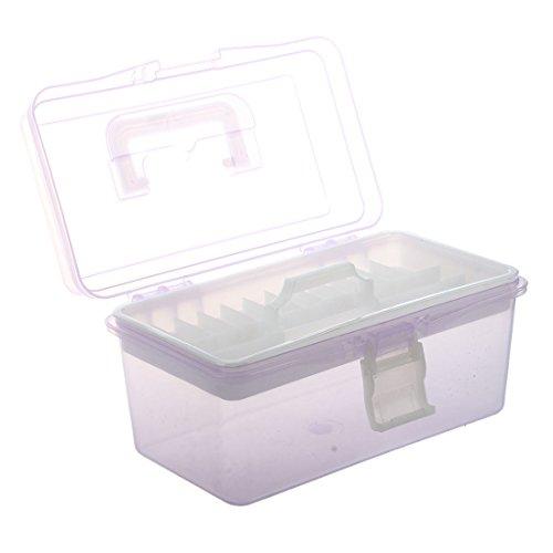 Uniquk Caja de almacenamiento herramientas de hardware de 2 capas Manejar de plastico, Purpura clara