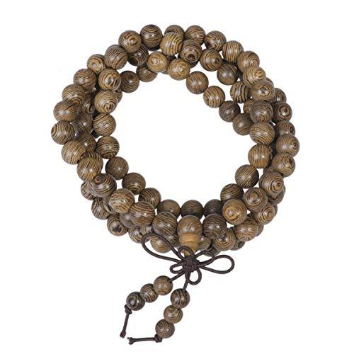 Garneck 108 Mala Perlen Armband 8mm Naturholz Perlen buddhistischen Sandelholz Mala Gebetskette Armband Halskette für Frauen Männer Erwachsene