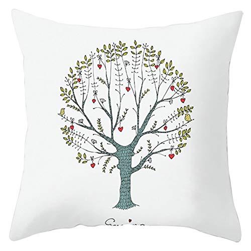 Socoz Funda de almohada para cama de matrimonio, de poliéster, con diseño de árbol y corazón, color blanco, rojo y verde