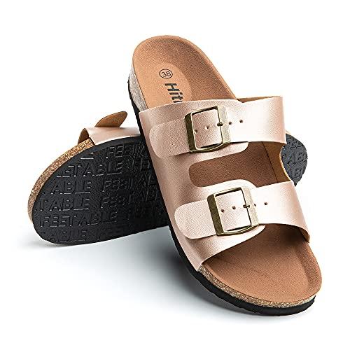 Sandalias Mujer Planas Zapatillas Verano Chanclas Con Hebilla Mules Zapatos Soporte Del Arco Comodas Marrón Claro Talla42 EU