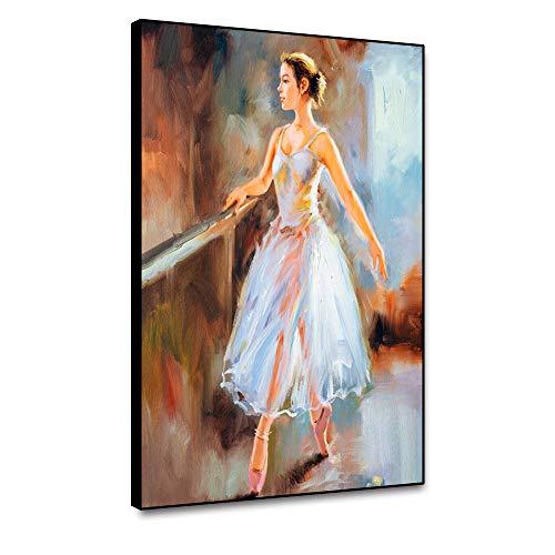 RTCKF Abstrakte Ballerina Ballerina Mädchen Ölgemälde Wandkunst Leinwanddrucke Poster Wohnkultur Zubehör Moderne Wohnzimmerdekoration Wohnwand A6 70X100cm