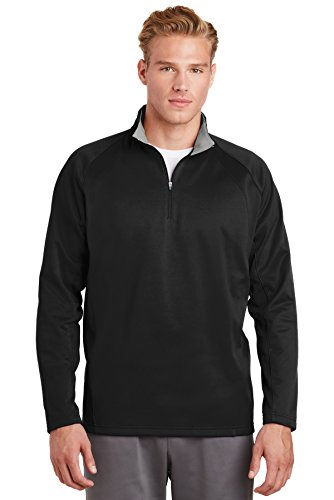 SPORT-TEK Men's Sport Wick 1/4 Zip Fleece Pullover 4XL Black/Silver