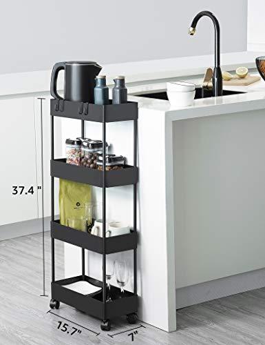 BASSTOP Storage Cart 4 Tier Bathroom Storage Organizer Rolling Utility Cart, Slide Out Storage Shelves Mobile Shelving Unit for Bathroom Kitchen Bedroom Laundry Narrow Places, Black