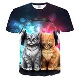 BMSYTY T-Shirt 3D MIAHEN DXSY191, Top a Maniche Lunghe Colletto a Maniche Corte per Uomo e Donna, Tee Casual Unisex 3D con Design per Gatti-l
