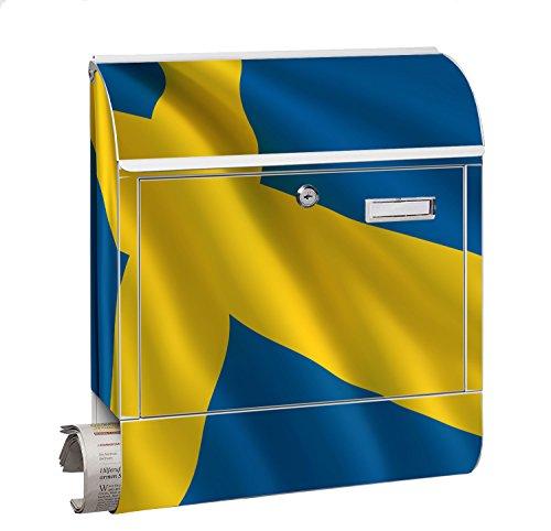 KlebeSpatz® Design Motiv Briefkasten Letterbox Maxi mit Zeitungsfach Zeitungsrolle für C4 Post Groß Flagge Schweden