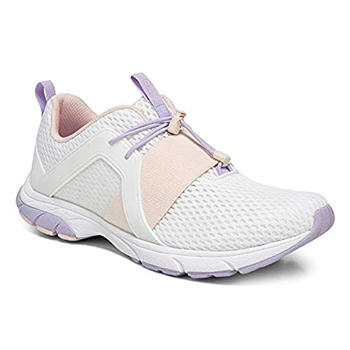Vionic Women's Drift Berlin Toggle Closure Active Sneakers- Supportive Walking Shoes That Include Three-Zone Comfort with Orthotic Insole Arch Support, Sneakers for Women White Lilac 10 Medium US