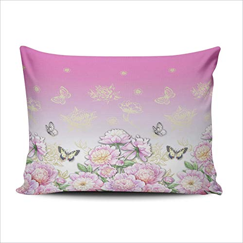 DKISEE Rectangle Pillowcase Floral Peonies and Butterflies Lumbar Throw Pillow Cover Cushion Case Doule Sided Print 20x36 inches
