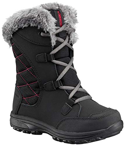 Columbia Youth Ice Maiden Lace Winter Boot , Black, 2 M US Little Kid