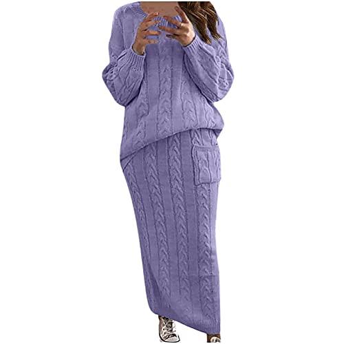 Masrin Ensemble de vêtements tricotés pour femme - Pull uni avec motif torsadé en deux parties - Pull à manches longues + jupe en tricot - Ensemble pull d'hiver chaud