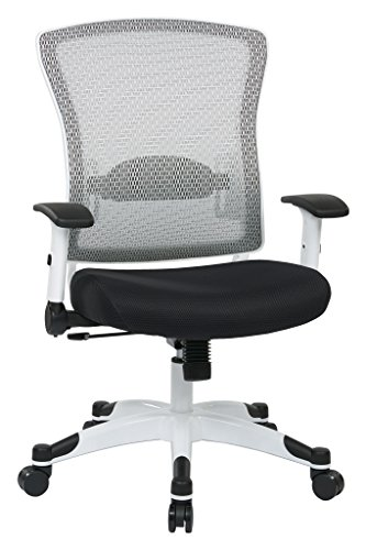 SPACE Seating Breathable Mesh Back and Padded Mesh Seat, Adjustable Arms, Tilt Tension and Lumbar Support with White Coated Nylon Frame Managers Chair, Black