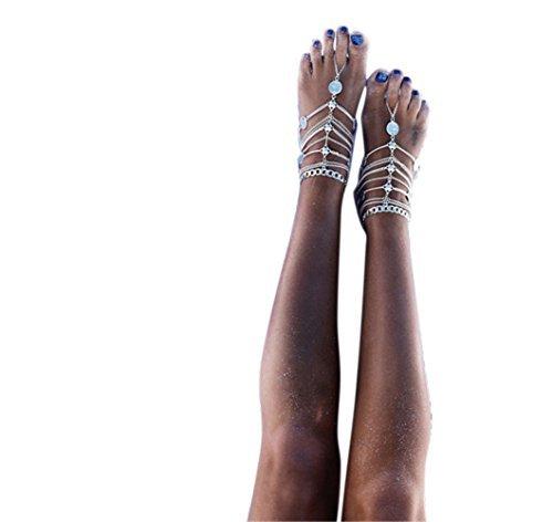 Orientalische Fußkette Retro in Silberoptik