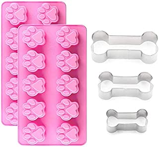 IHUIXINHE 2Packs Silicone Dog Paw Mold and 3 Packs Stainless Steel Bone Cookie Cutter, Dog Bone Biscuit Cookie for Homemad...