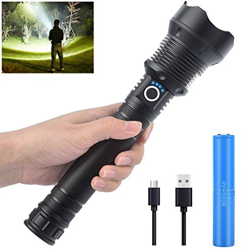 Rechargeable High Lumens Flashlight,90000 Lumens Led Flashlight,Upgraded P70 LED Flashlight with 26650 Battery,3 Modes Lighting, Zoomable Flashlight for Outdoor Emergency