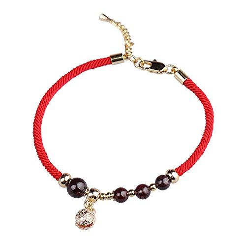 JZHJJ eenvoudige en stijlvolle klassieke paar armband oude wind bel armband rode touw kleine frisse hand touw rooster literaire eenvoudige Temperament armband meisje hand Inclusief: armband