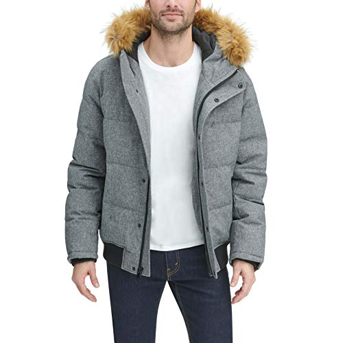 Tommy Hilfiger Men's Quilted Arctic Cloth Snorkel Bomber Jacket with Removable Hood (Standard and Big & Tall), Heather Grey, Medium