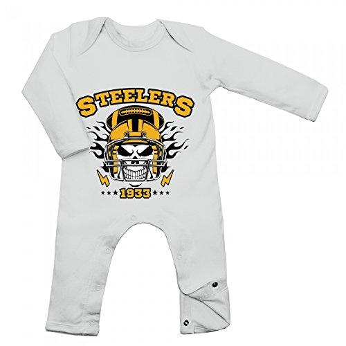 Shirt Happenz Steelers Skull Babybody American Football Totenkopf Football-Helm Langarm Langärmliger Strampler, Farbe:Weiß (White BZ13);Größe:3-6 Monate